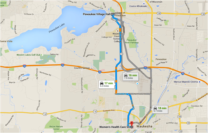 Map from Pewaukee To Womens Healthcare Offices in Waukesha