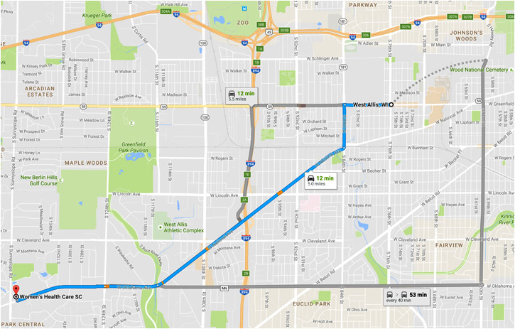 Map from West Allis to Womens Health Care office in Waukesha