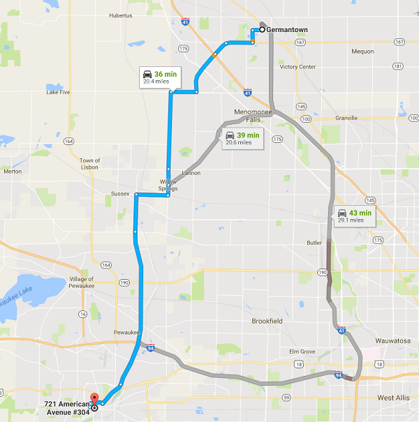 Directions from Germantown to Women's Health Care Waukesha